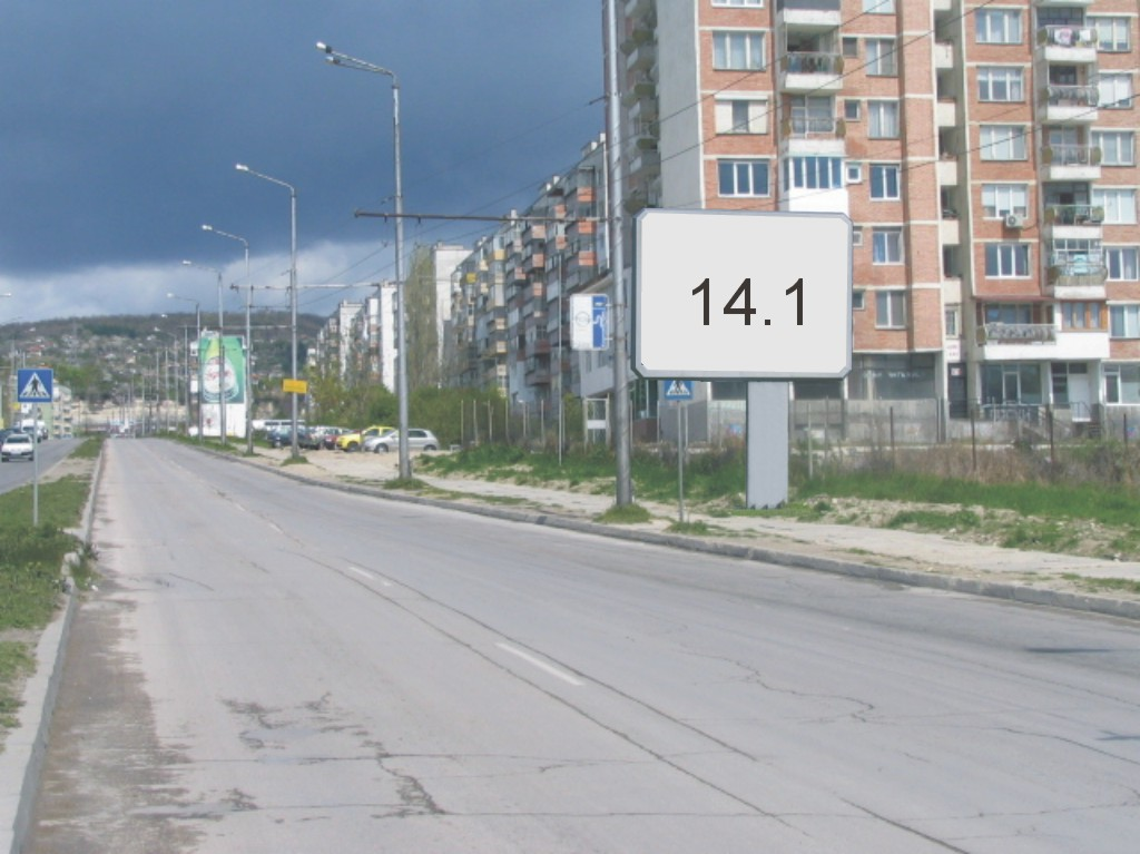 Билбордове под наем позиция 14.1: Варна, ул. Ян Хуниади - бул. 3-ти Март