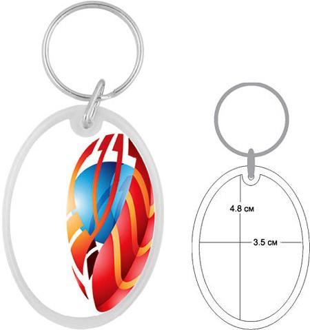 Пластмасов рекламен ключодържател елипса
